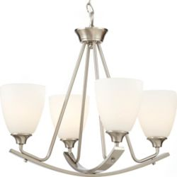 Home Decorators Collection Stansbury 4-Light 100W Brushed Nickel Chandelier