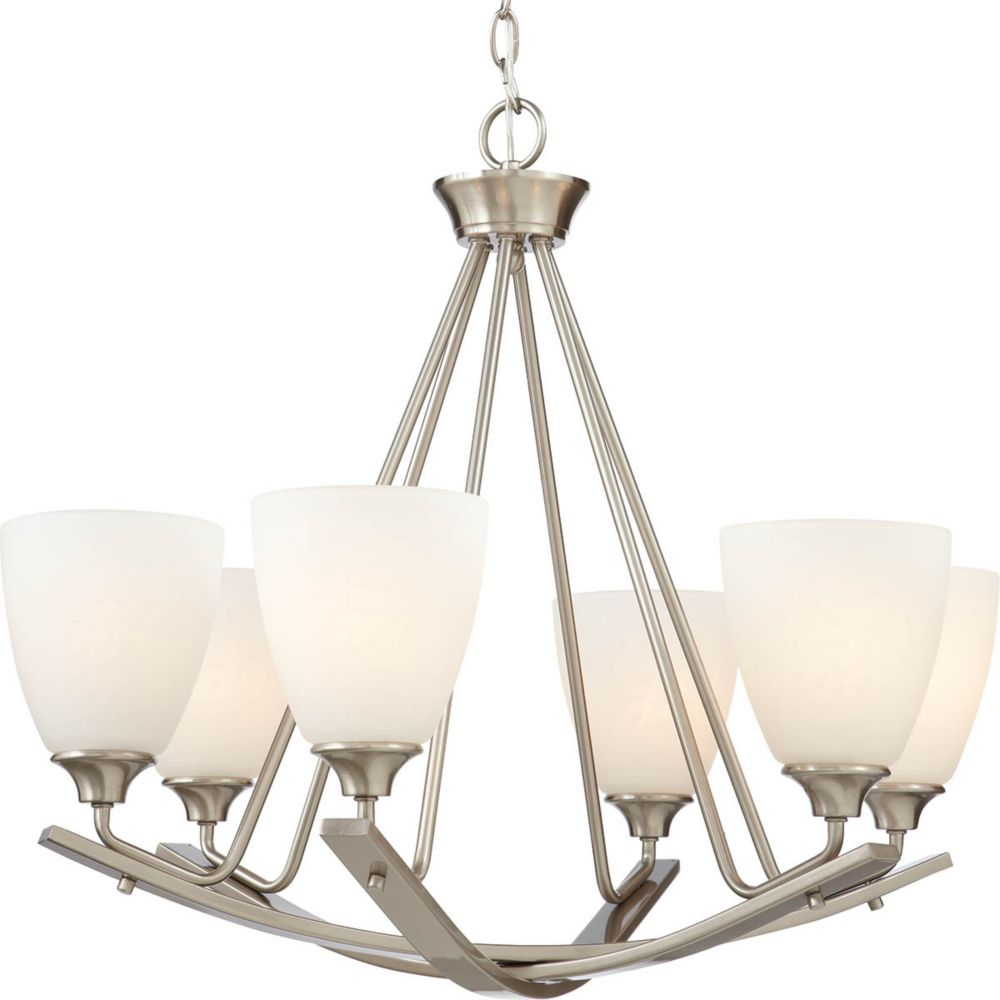 Home Decorators Collection Stansbury 6-Light 100W Brushed Nickel Chandelier