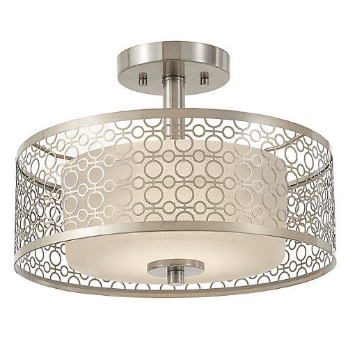 Toberon Collection 1-Light Brushed Nickel LED Semi-Flushmount with Metal Shade - ENERGY STAR