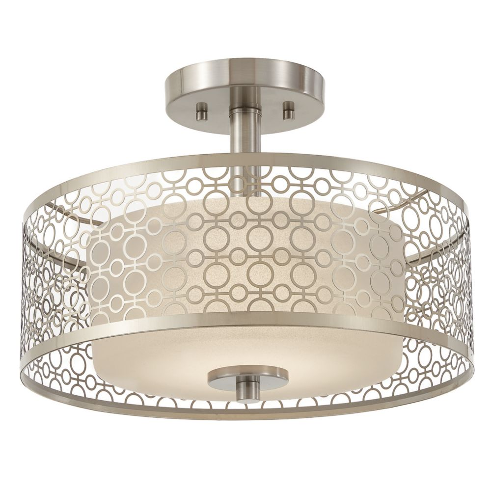 Home Decorators Collection Toberon Collection 1-Light Brushed Nickel LED Semi-Flushmount with Metal Shade - ENERGY STAR