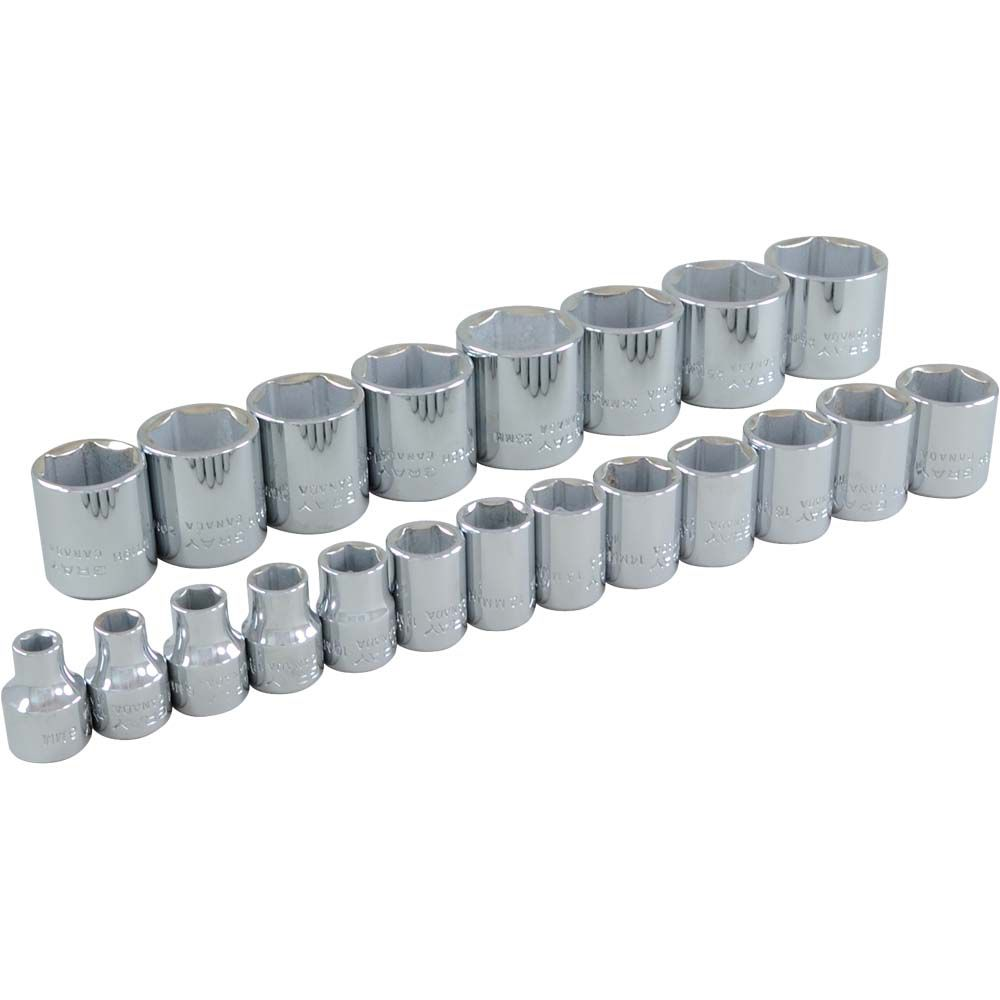 GRAY TOOLS Socket Set 21 Pieces 3/8 Inch Drive 6 Point Standard Metric