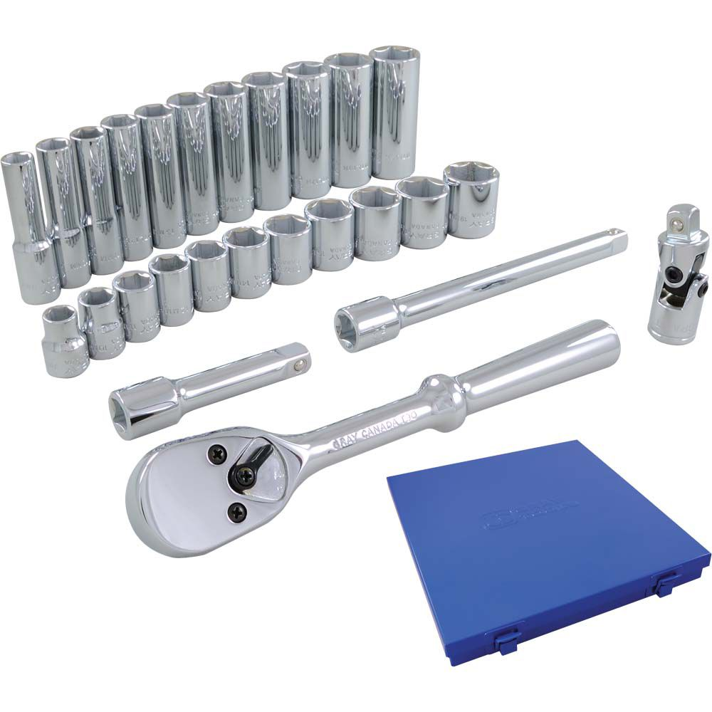 Socket & Attachments Set 26 Pieces 3/8 Inch Drive 6 Point Standard And Deep Metric