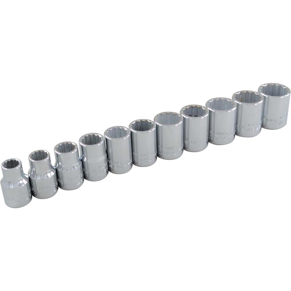 Socket Set 11 Pieces 3/8 Inch Drive 12 Point Standard Metric