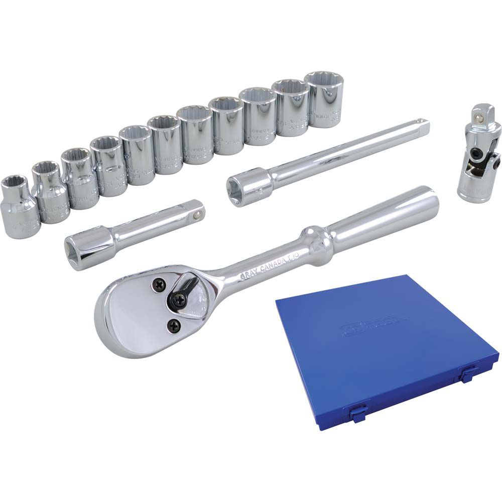 Socket & Attachments Set 15 Pieces 3/8 Inch Drive 12 Point Standard Metric