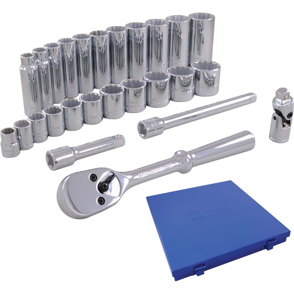 Socket & Attachments Set 26 Pieces 3/8 Inch Drive 12 Point Standard And Deep Metric