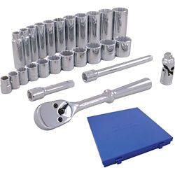 GRAY TOOLS Socket & Attachments Set 26-Piece 3/8 Inch Drive 12 Point Standard And Deep Metric