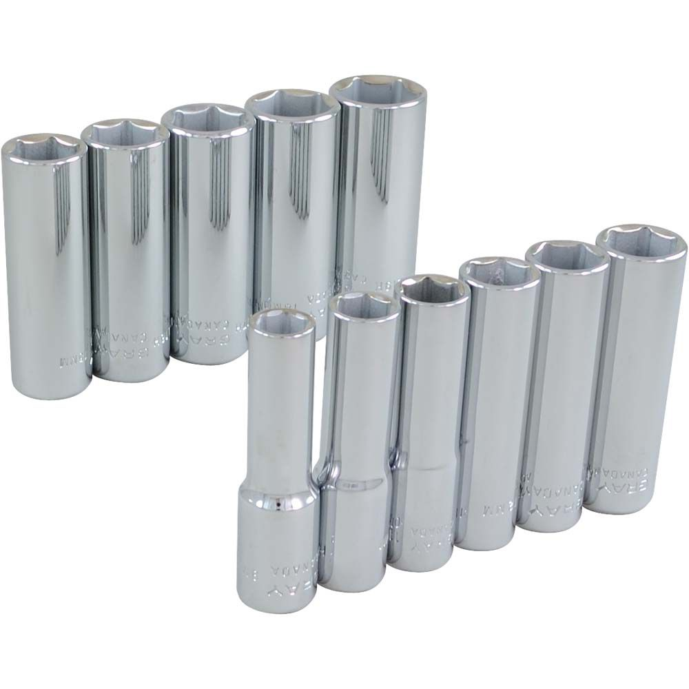 GRAY TOOLS Socket Set 11 Pieces 3/8 Inch Drive 6 Point Deep Metric