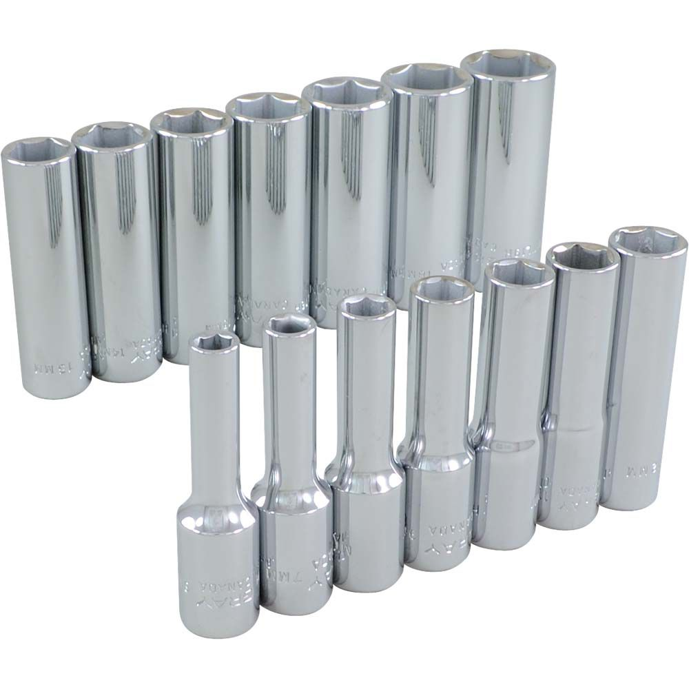 Socket Set 14 Pieces 3/8 Inch Drive 6 Point Deep Metric