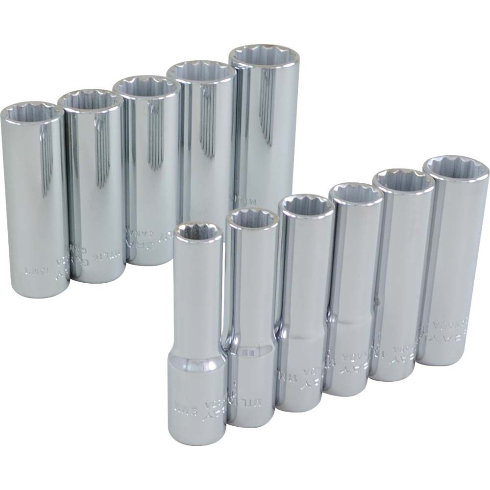 Socket Set 11 Pieces 3/8 Inch Drive 12 Point Deep Metric