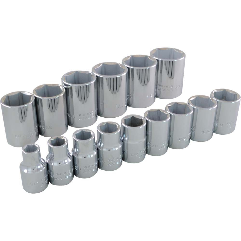 Socket Set 15 Pieces 1/2 Inch Drive 6 Point Standard Sae