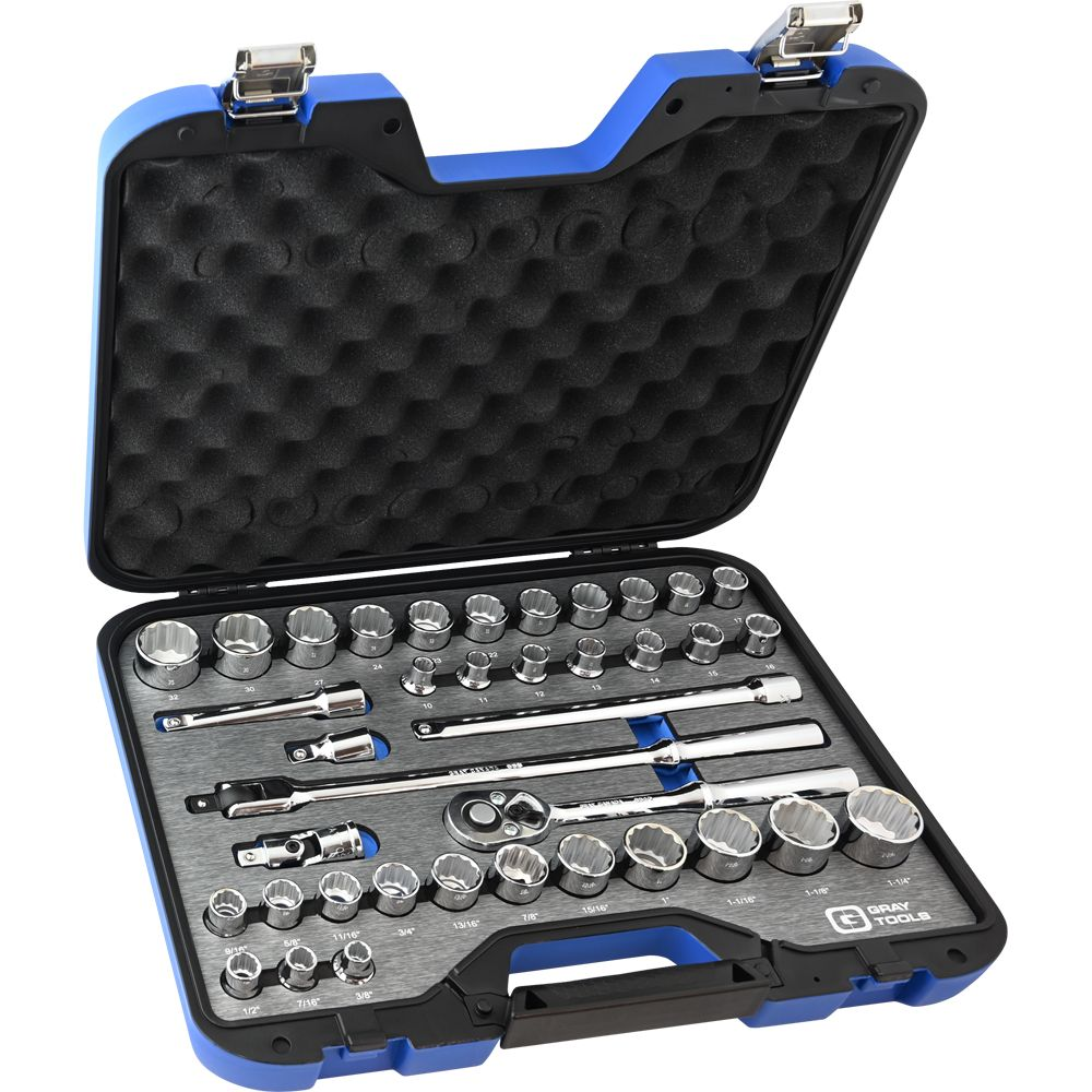 Socket & Attachments Set 38 Pieces 1/2 Inch Drive 12 Point Sae And Metric