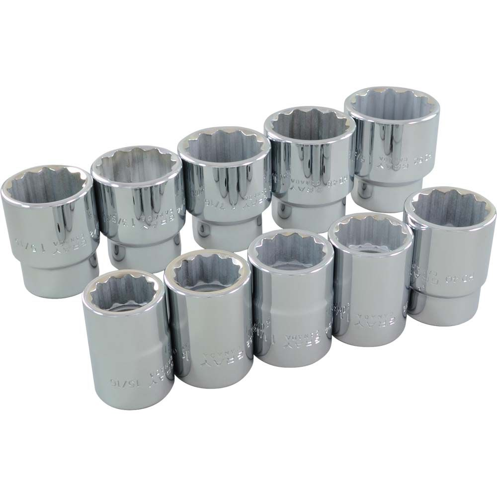 GRAY TOOLS Socket Set 10 Pieces 3/4 Inch Drive 12 Point Standard Sae