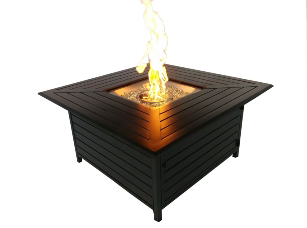 Table carrée propane Foyer - Bronze