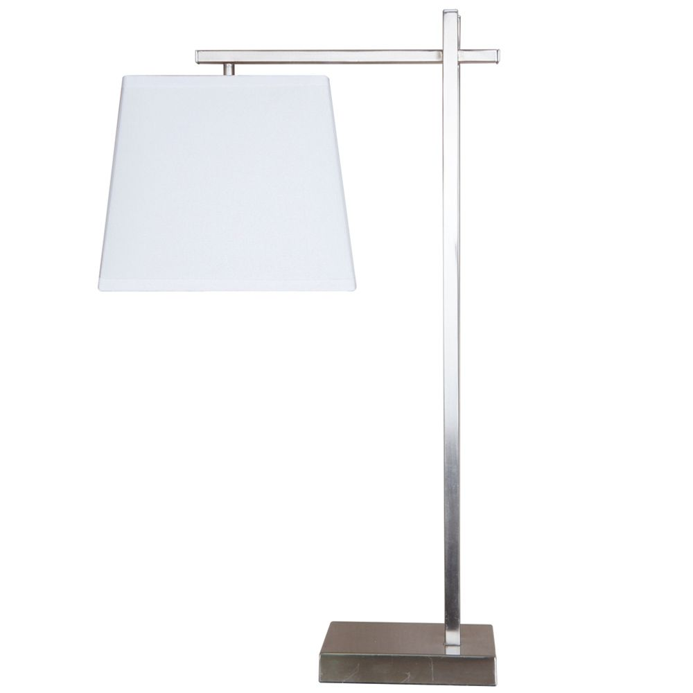 27 Inch. Brushed Steel Table Lamp With White Shade