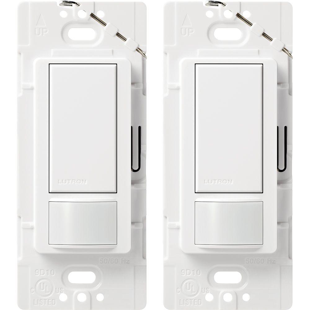 Interrupteur-détecteur de présence de mouvement léger, Unipolaire, Maestro de Lutron-Blanc-2Pk