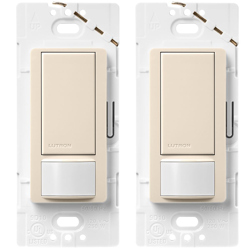 Maestro Single Pole Occupancy Motion Sensing Switch - Light Almond (2-Pack)