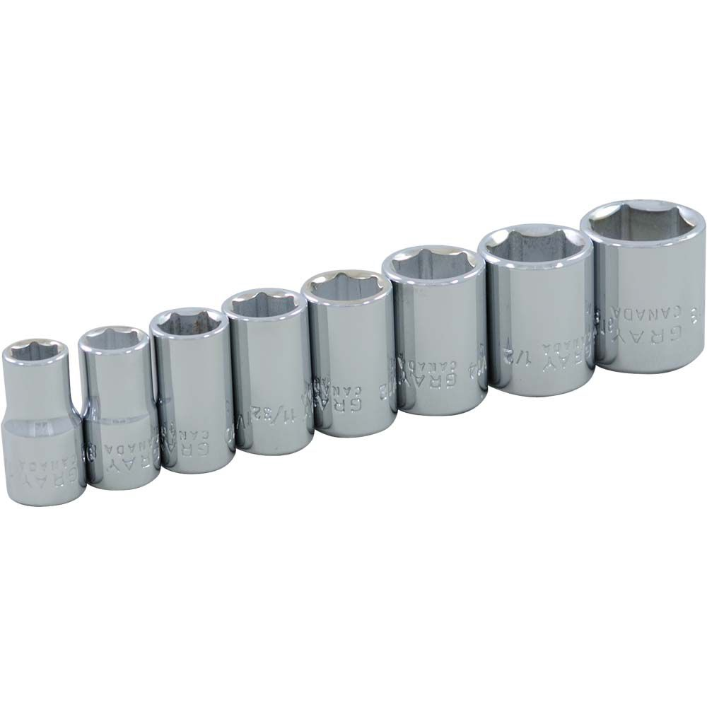 GRAY TOOLS Socket Set 8 Pieces 1/4 Inch Drive 6 Point Standard Sae