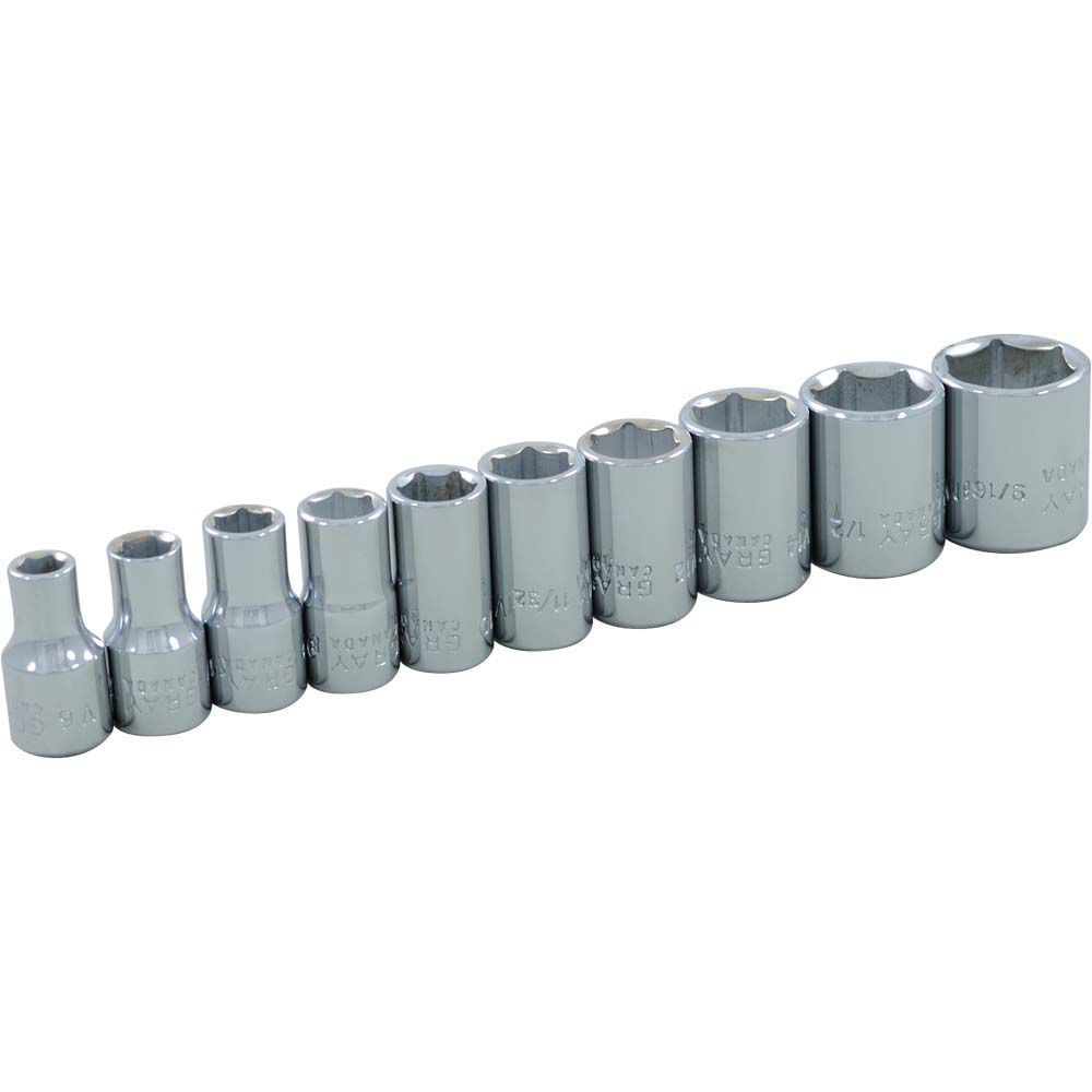 Socket Set 10 Pieces 1/4 Inch Drive 6 Point Standard Sae