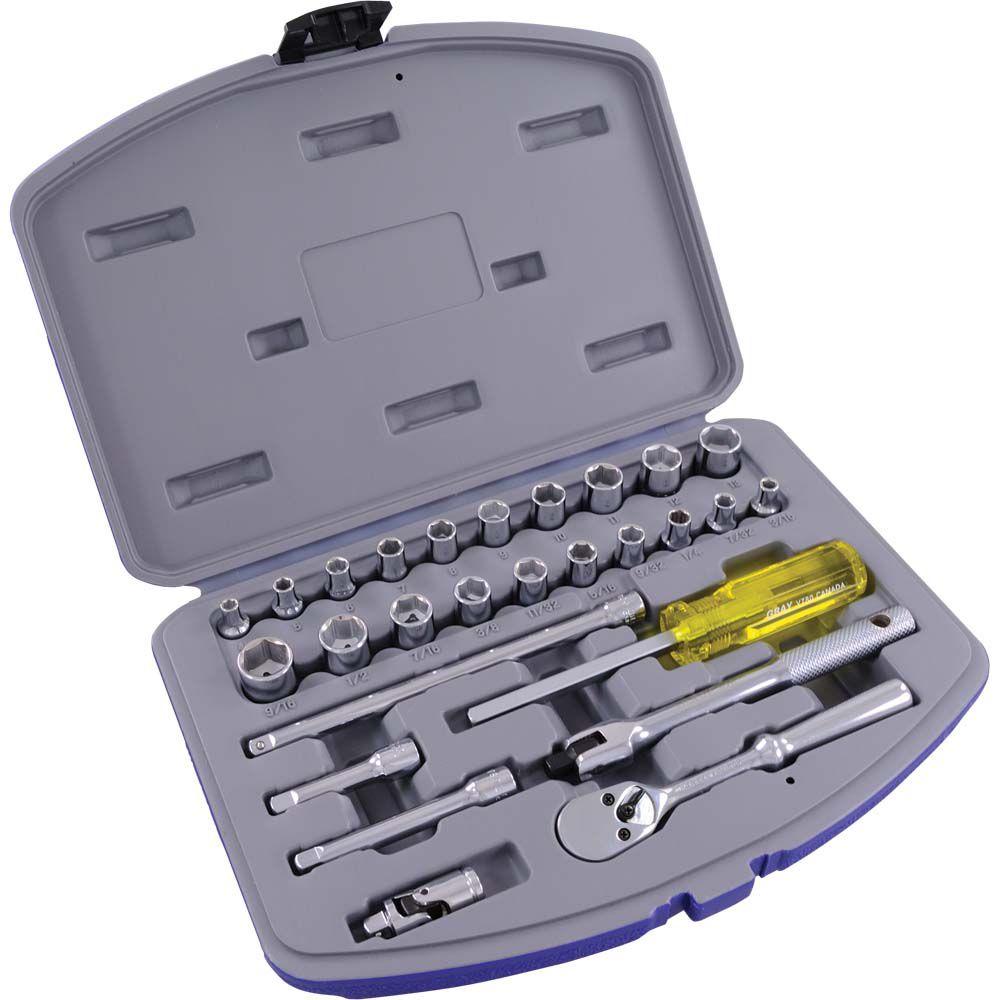 Ensemble d'accessoires et de douilles standards SAE et métriques, prise 1/4 po, 6 pans, 27 pièces