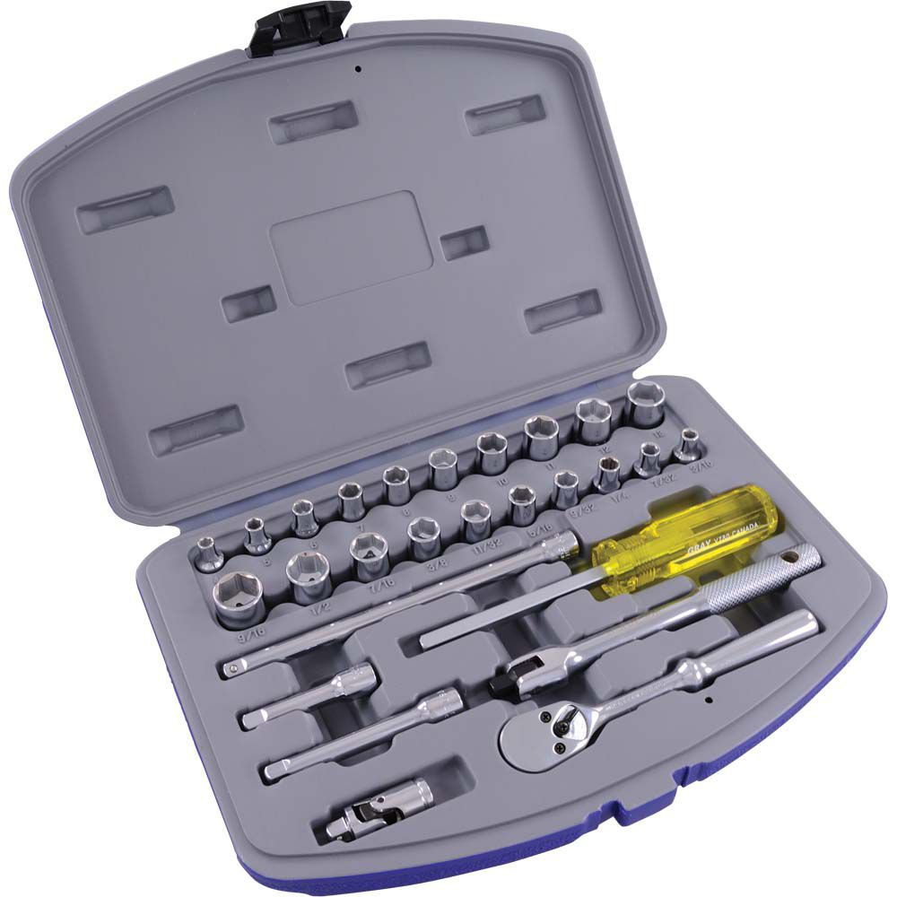Socket & Attachments Set 27 Pieces 1/4 Inch Drive 6 Point Standard Sae And Metric
