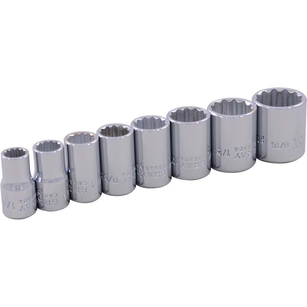 GRAY TOOLS Socket Set 8 Pieces 1/4 Inch Drive 12 Point Standard Sae
