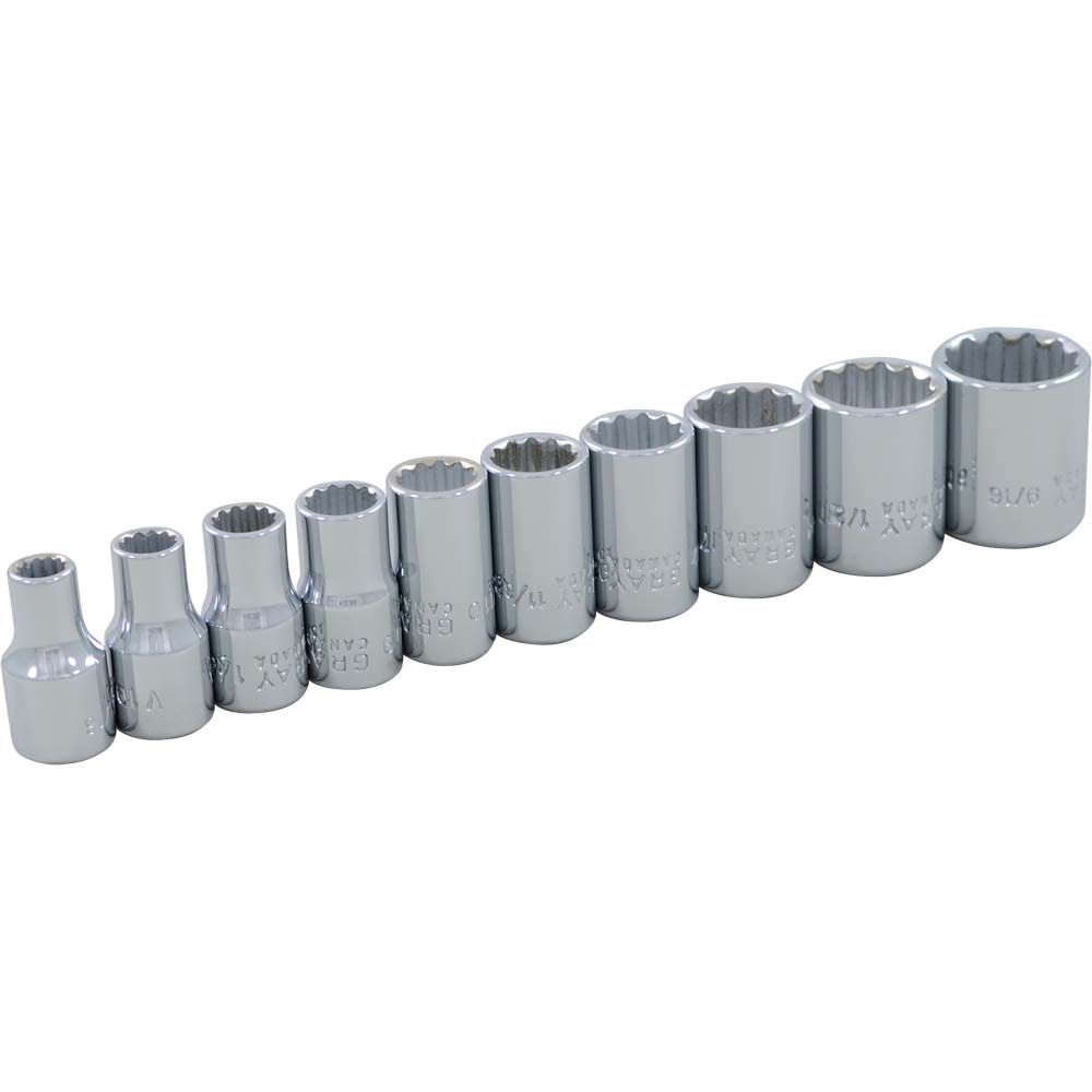 GRAY TOOLS Socket Set 10 Pieces 1/4 Inch Drive 12 Point Standard Sae