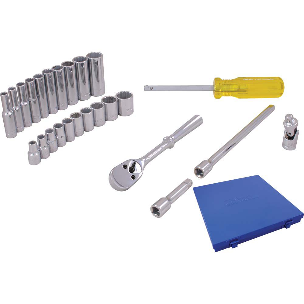 GRAY TOOLS Socket & Attachments Set 25 Pieces 1/4 Inch Drive 12 Point Standard And Deep Sae
