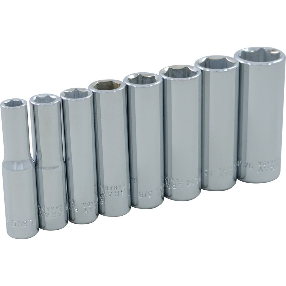 GRAY TOOLS Socket Set 8 Pieces 1/4 Inch Drive 6 Point Deep Sae