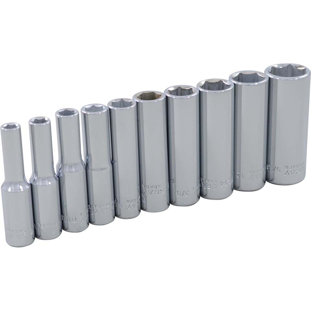 GRAY TOOLS Socket Set 10 Pieces 1/4 Inch Drive 6 Point Deep Sae