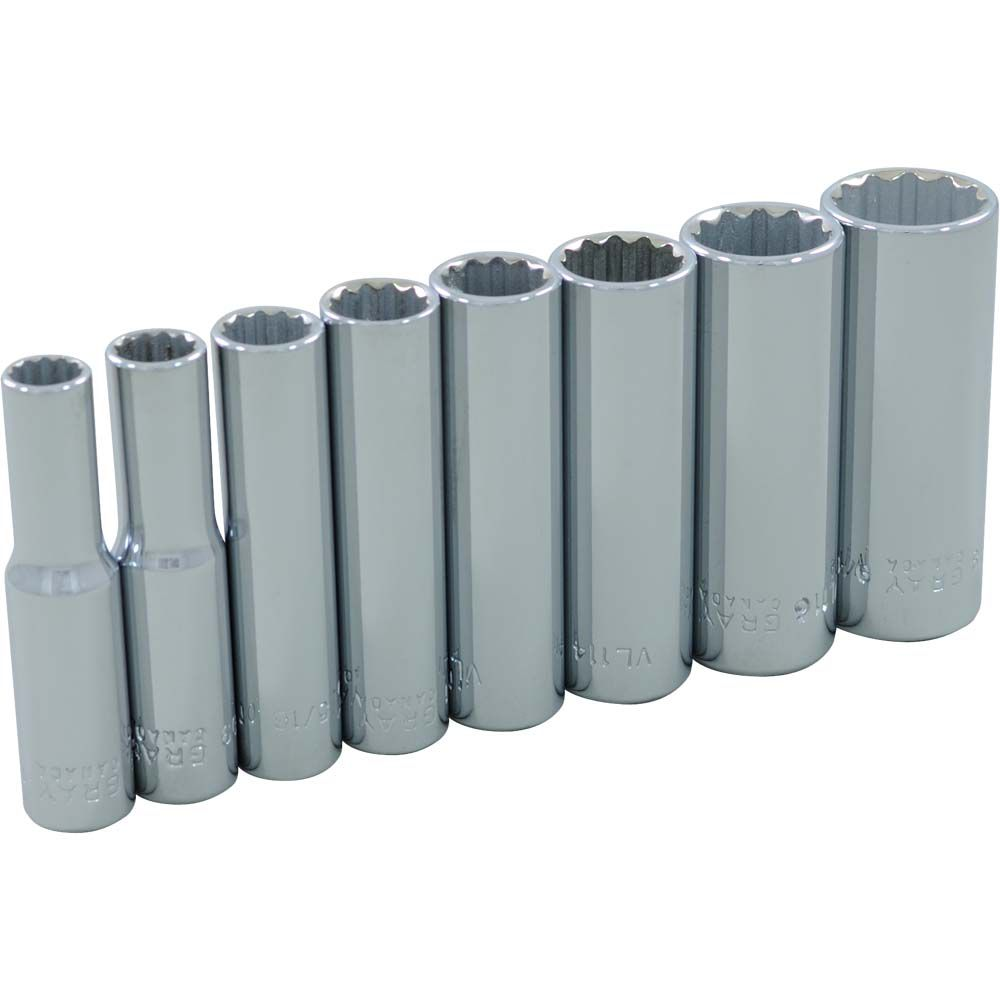 Socket Set 8 Pieces 1/4 Inch Drive 12 Point Deep Sae