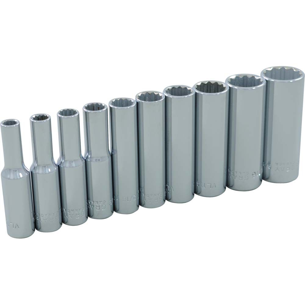 GRAY TOOLS Socket Set 10 Pieces 1/4 Inch Drive 12 Point Deep Sae