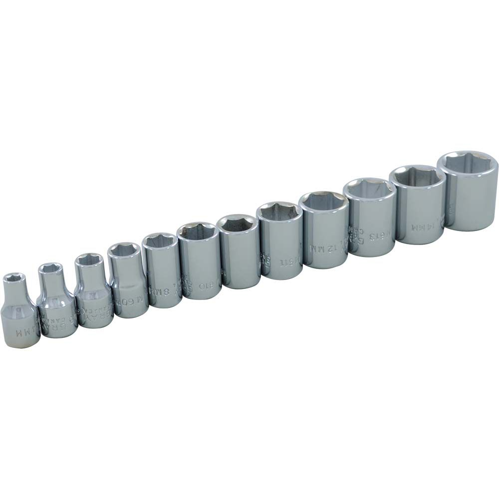 Socket Set 12 Pieces 1/4 Inch Drive 6 Point Standard Metric