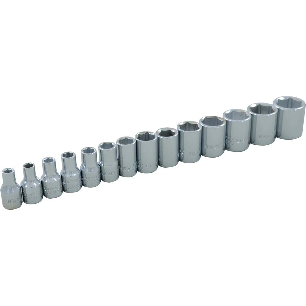 Socket Set 14 Pieces 1/4 Inch Drive 6 Point Standard Metric