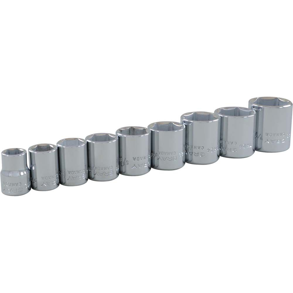 Socket Set 9 Pieces 3/8 Inch Drive 6 Point Standard Sae