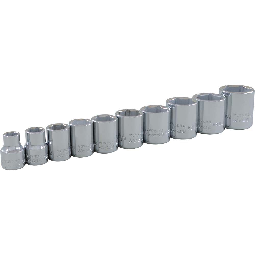 Socket Set 10 Pieces 3/8 Inch Drive 6 Point Standard Sae