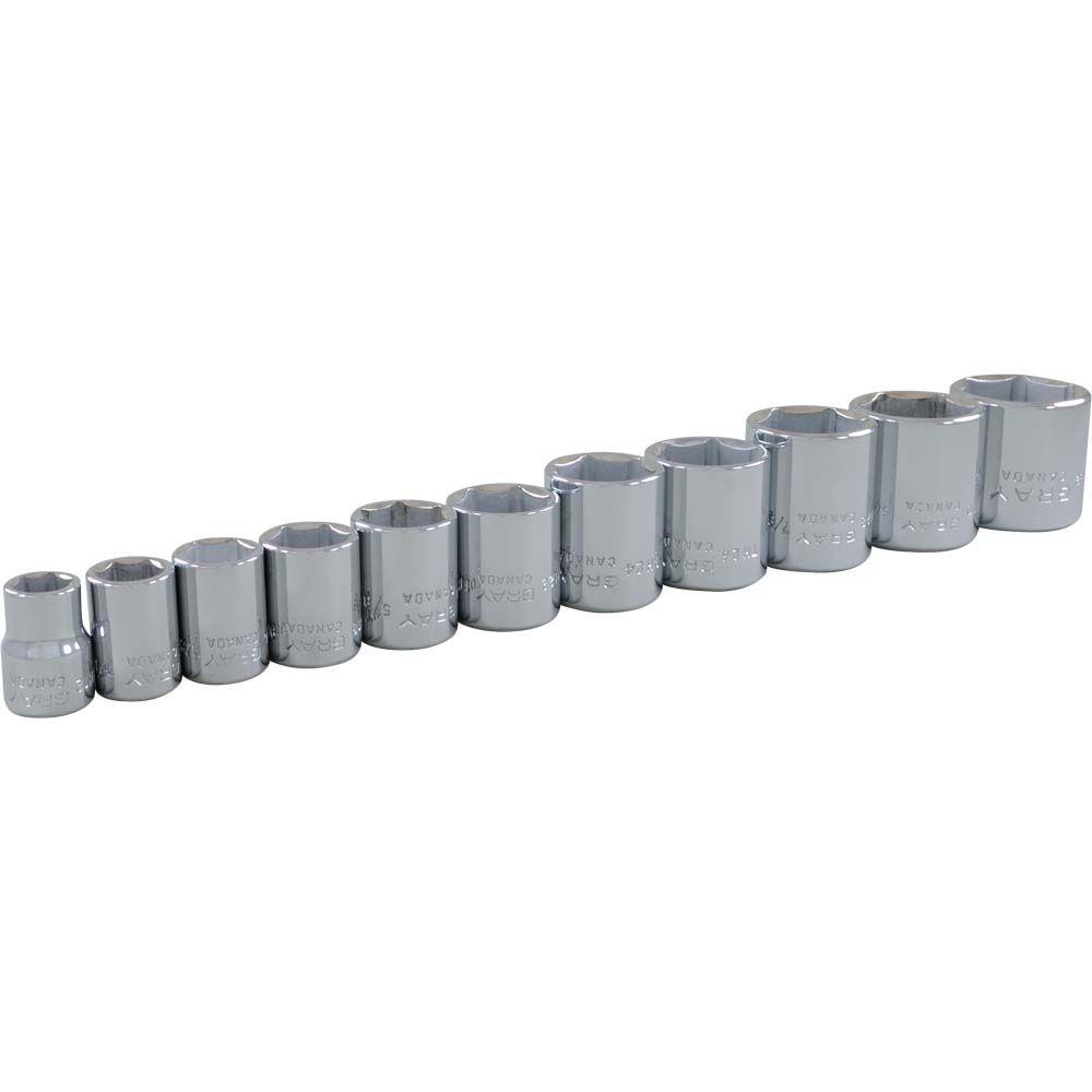 11 Piece 3/8 Inch Drive 6 Point SAE, Standard Chrome Socket Set, 3/8 Inch - 1