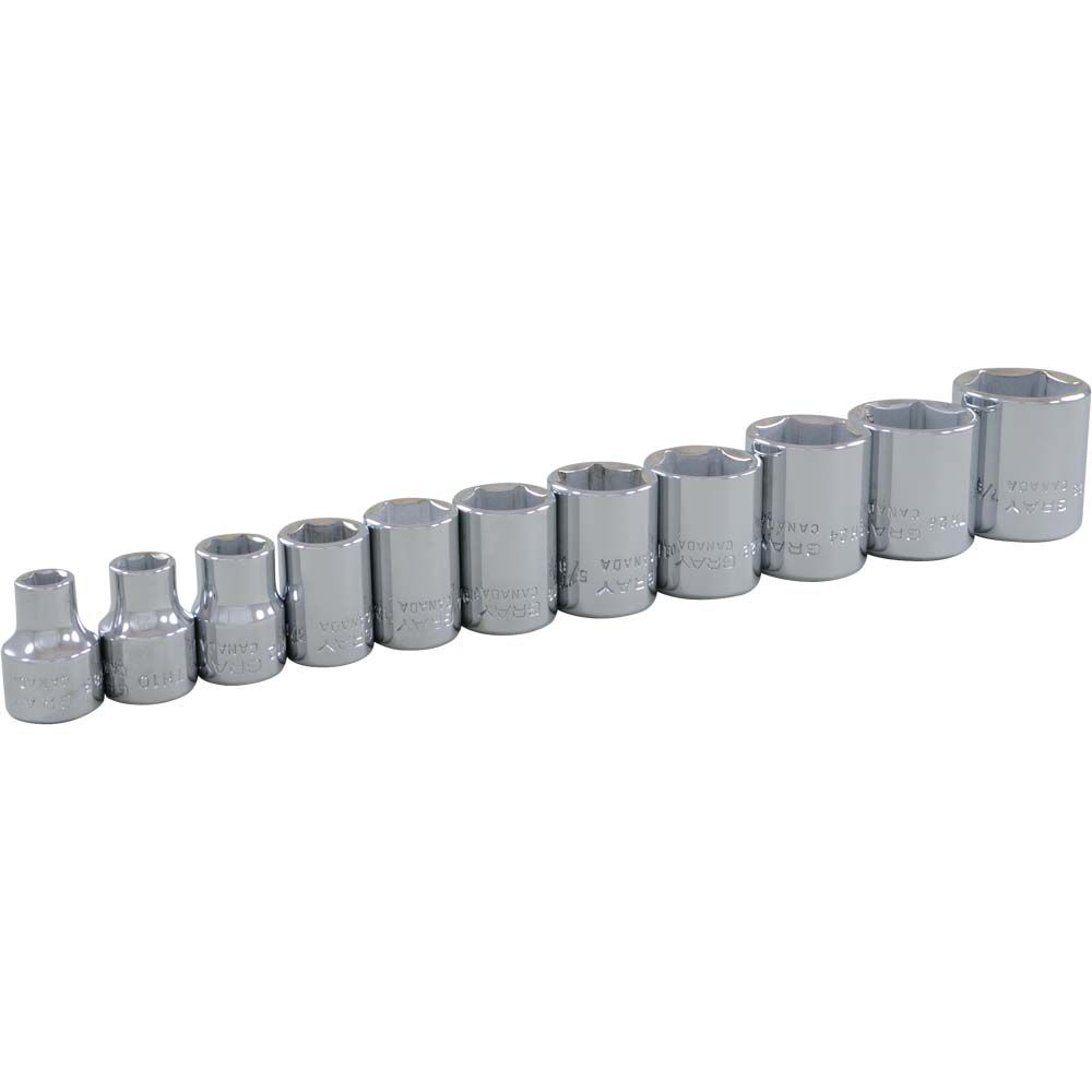 Socket Set 11 Pieces 3/8 Inch Drive 6 Point Standard Sae