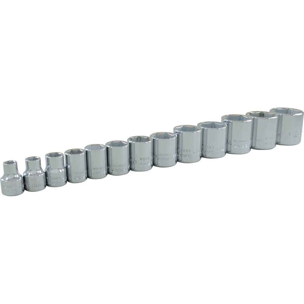 Socket Set 13 Pieces 3/8 Inch Drive 6 Point Standard Sae