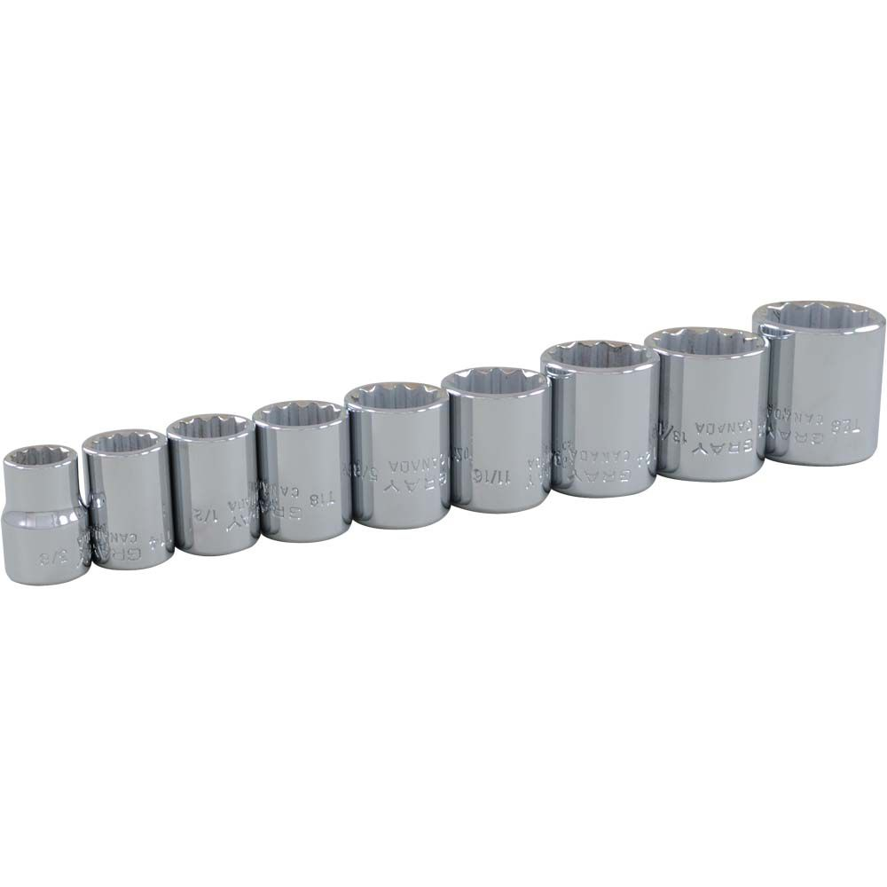 GRAY TOOLS Socket Set 9 Pieces 3/8 Inch Drive 12 Point Standard Sae