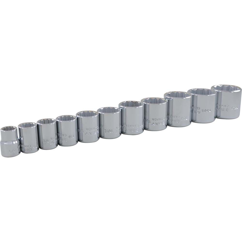 GRAY TOOLS 11 Piece 3/8 Inch Drive 12 Point SAE, Standard Chrome Socket Set, 3/8 Inch - 1