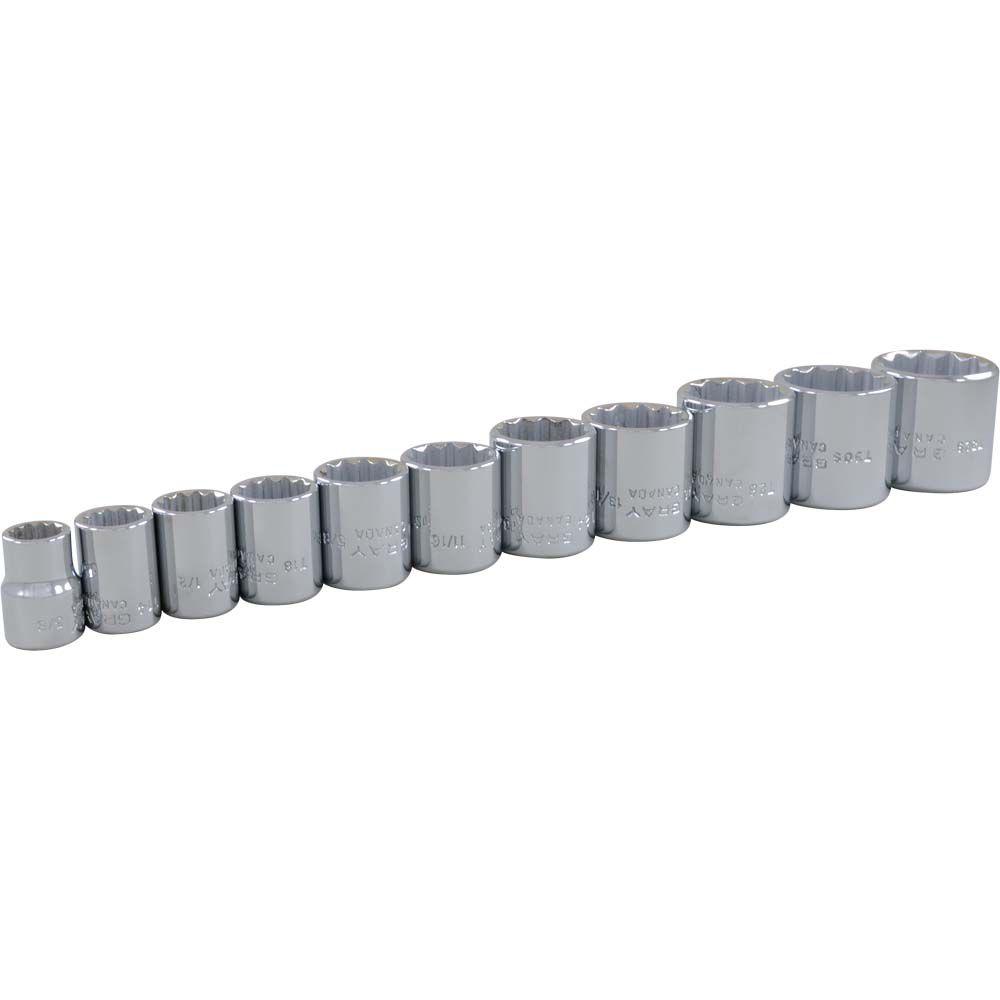 11 Piece 3/8 Inch Drive 12 Point SAE, Standard Chrome Socket Set, 3/8 Inch - 1