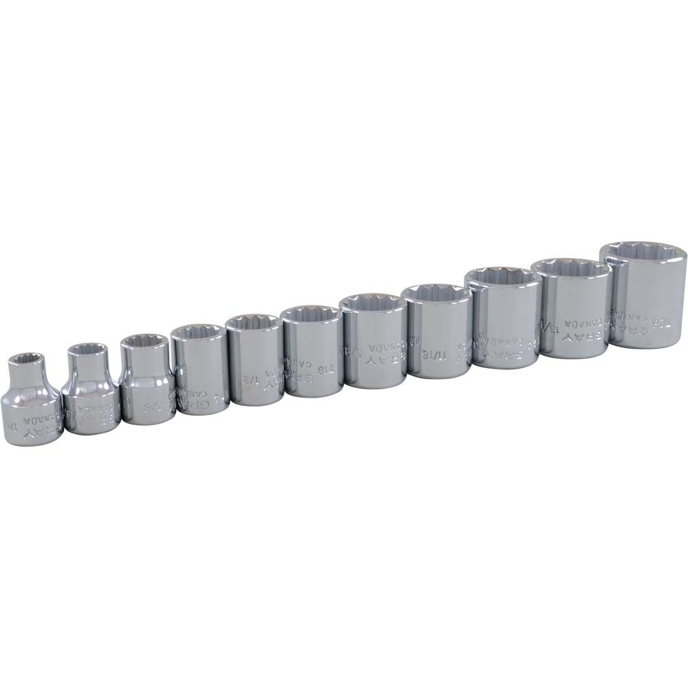 GRAY TOOLS 11 Piece 3/8 Inch Drive 12 Point SAE, Standard Chrome Socket Set, 1/4 Inch - 7/8