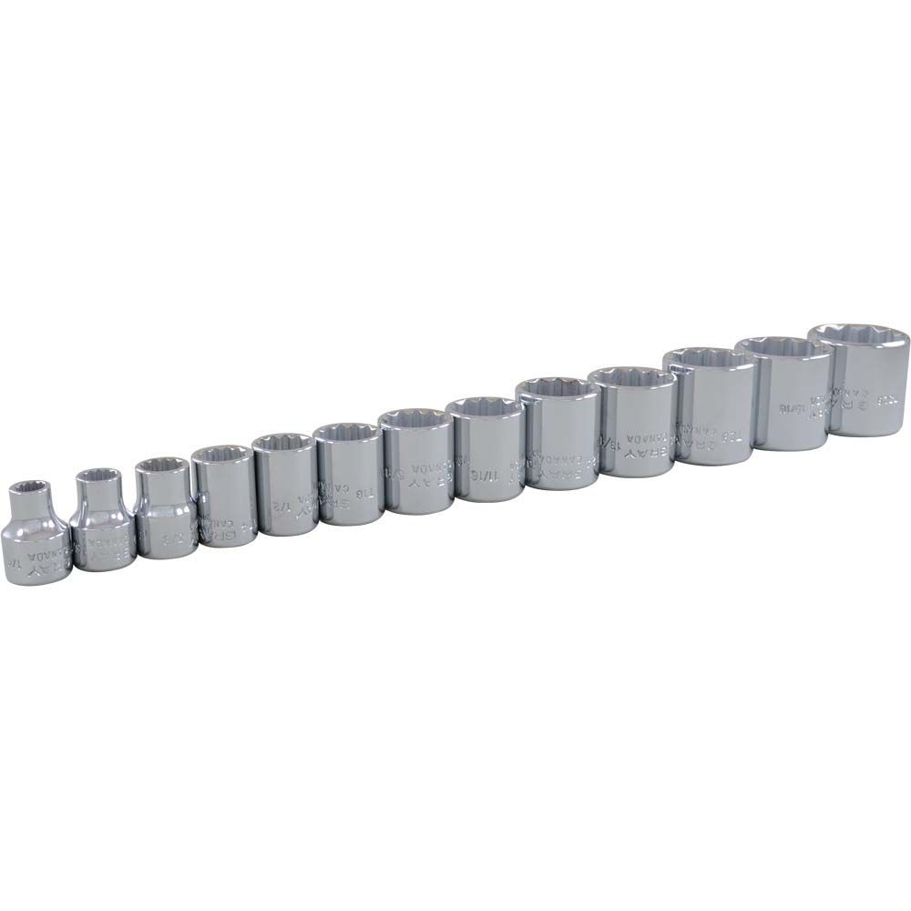 GRAY TOOLS Socket Set 13 Pieces 3/8 Inch Drive 12 Point Standard Sae