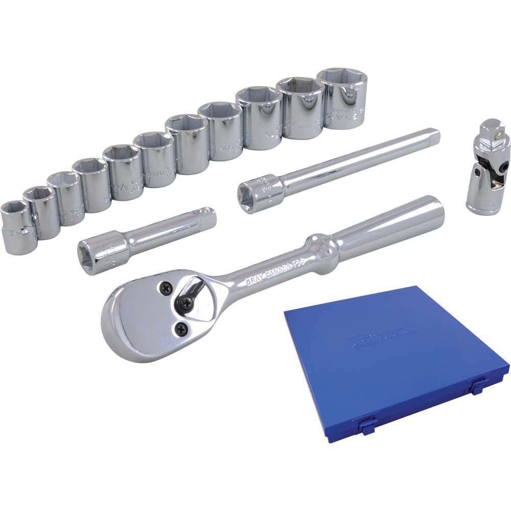 Socket & Attachments Set 15 Pieces 3/8 Inch Drive 12 Point Standard Sae