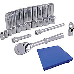 GRAY TOOLS Socket & Attachments Set 26-Piece 3/8 Inch Drive 12 Point Standard And Deep Sae
