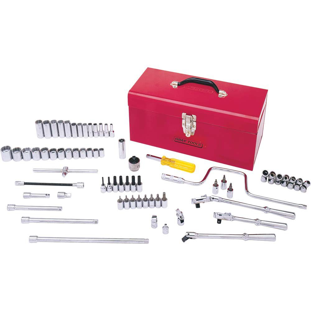 GRAY TOOLS Socket & Attachments Set 68 Pieces 3/8 Inch Drive 12 Point Standard Sae