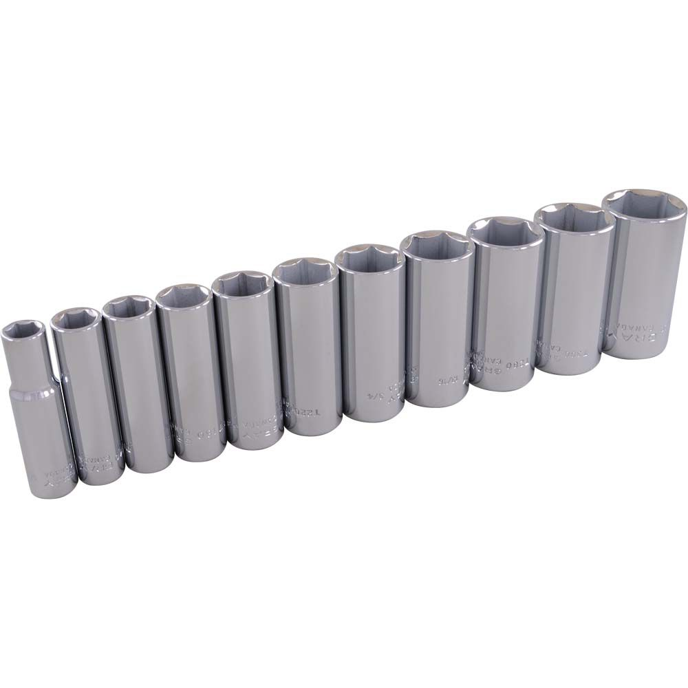 Socket Set 11 Pieces 3/8 Inch Drive 6 Point Deep Sae