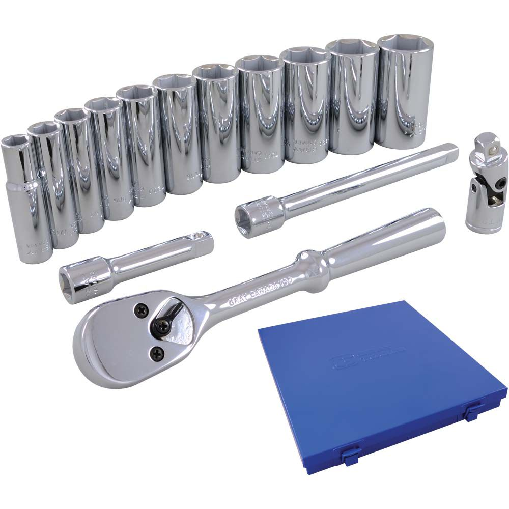 GRAY TOOLS Socket & Attachments Set 15 Pieces 3/8 Inch Drive 6 Point Deep Sae