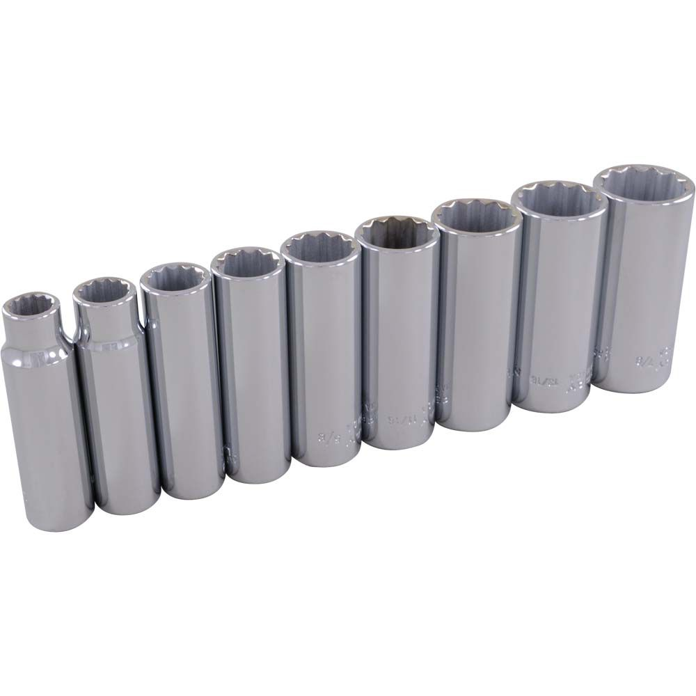 GRAY TOOLS Socket Set 9 Pieces 3/8 Inch Drive 12 Point Deep Sae