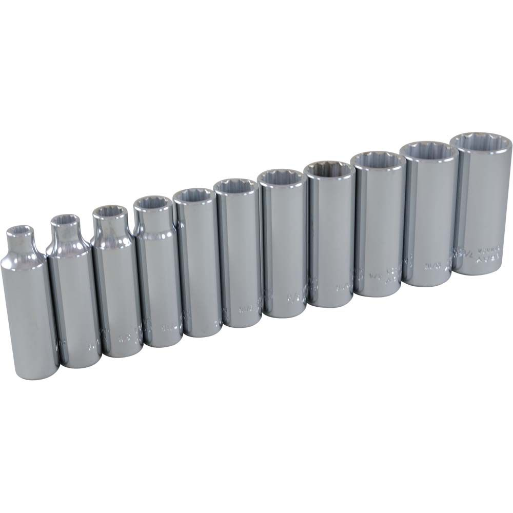 GRAY TOOLS 11 Piece 3/8 Inch Drive 12 Point SAE, Deep Chrome Socket Set, 1/4 Inch - 7/8